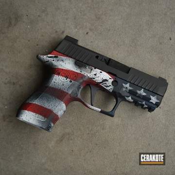 Cerakoted Sig Sauer Handgun With A Cerakote H-167, H-297 And H-127 American Flag Finish