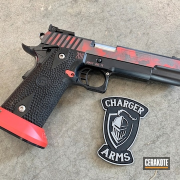 Cerakoted Sti 2011 Handgun Finished In A Red, Black And Grey Multicam Finish