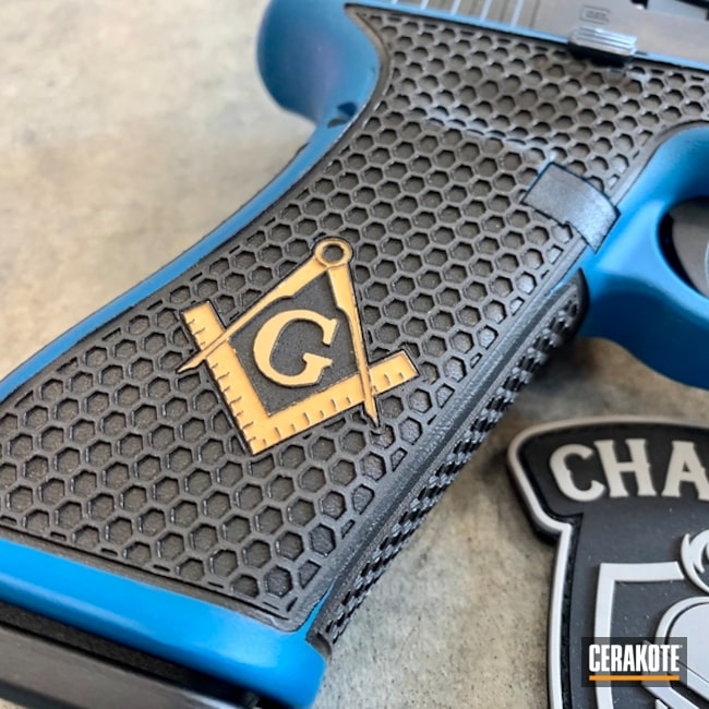 Cerakoted: SHOT,Custom Glock Frame,Two Tone,Pistol,Glock,Masonic Lodge,Glock 17,Gun Coatings,Laser Engrave,Gold H-122,Sky Blue H-169