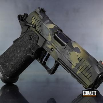 Cerakoted Triarc Systems Tr-11 Handgun With A Cerakote Multicam Black H-204, H-264 And H-262 Finish