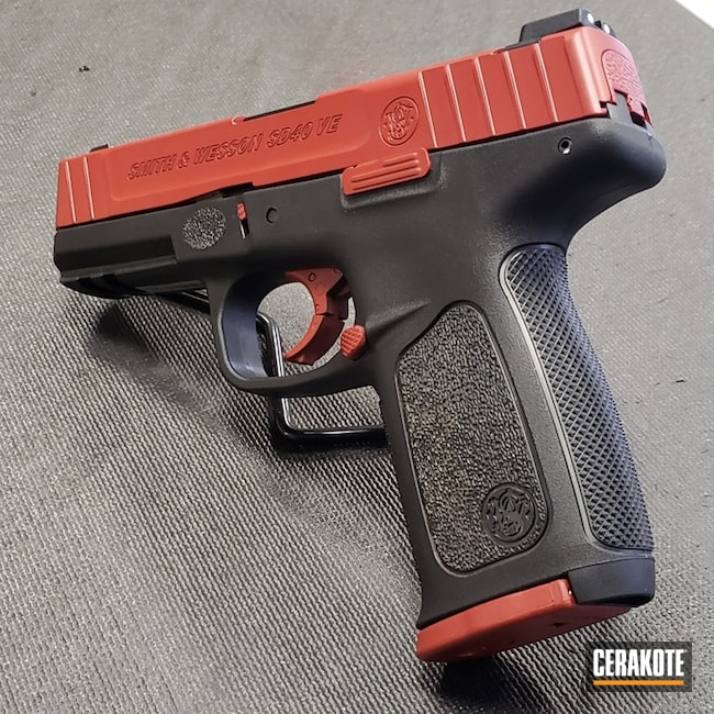 S&W Slide and Accents Cerakoted in H-221 and Frame Cerakoted in H-146 Graphite Black
