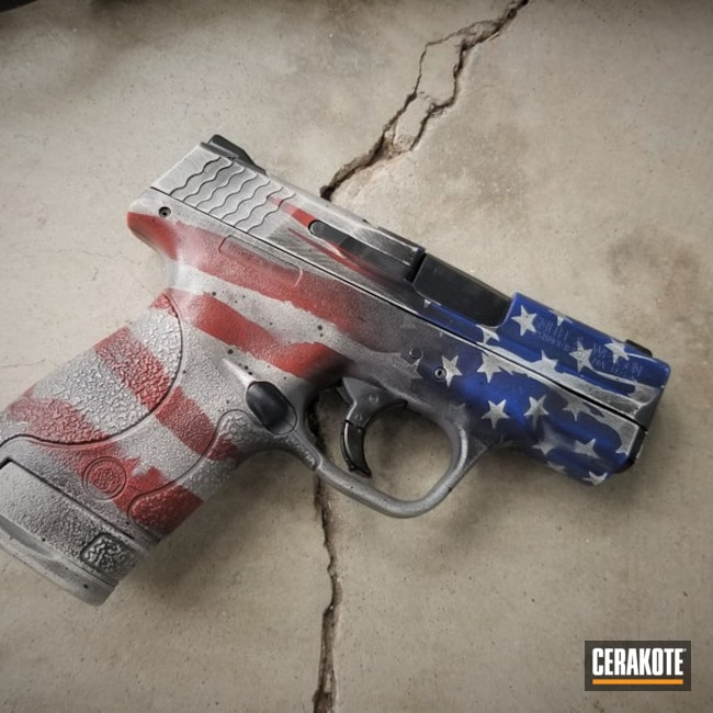 "Thumbnail image for project ""Smith & Wesson Handgun with a Cerakote H-216, H-169, H-199 and H-242 American Flag Finish"""