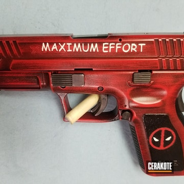 Cerakoted Deadpool Themed Cerakote Finish Using H-167, H-190, H-297 And Mc-5100