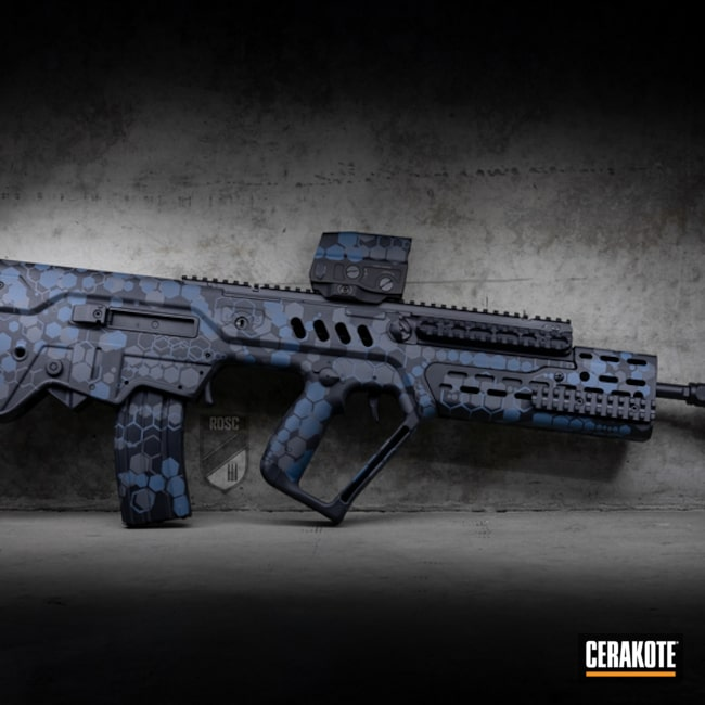 Cerakoted Iwi Tavor Rifle With A Cerakote Hex Pattern Finish Using H-401, H-262 And H-238