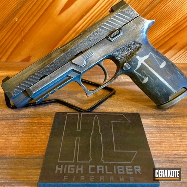Cerakoted: SHOT,Sig Sauer P320,Shimmer Aluminum H-158,Battleworn,Scales of Justice,Graphite Black H-146,Sig Sauer,Gun Coatings,Cerakote Blow Off,Laser Engrave
