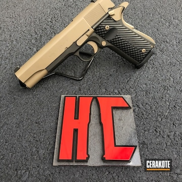 Cerakoted Two Toned Colt 1911 Handgun Using H-146 And H-265