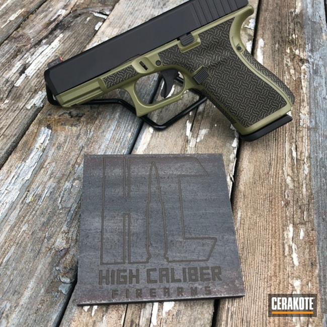 Cerakoted: SHOT,Glock 19,Laser Stippled,Debadge,Two Tone,Armor Black H-190,Pistol,Glock,Gun Coatings,Noveske Bazooka Green H-189,Laser Engrave