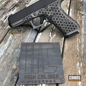 Cerakoted Custom Laser Engraved And Debadged Glock 45 With A Cerakote H-237 And H-190 Finish