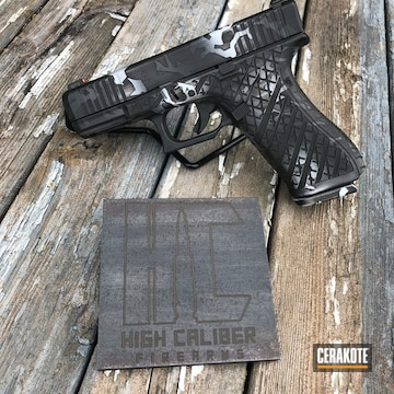 Cerakoted Laser Engraved Glock 45 Handgun With Custom Cerakote Splinter Camo Finish Using H-146, H-213, H-237 And H-297