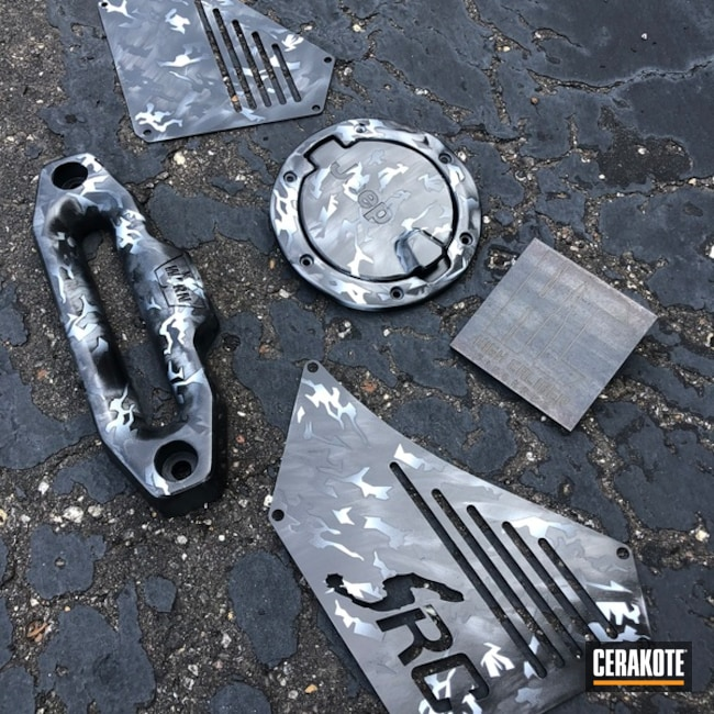 Jeep Parts with a Cerakote Splinter Camo Finish