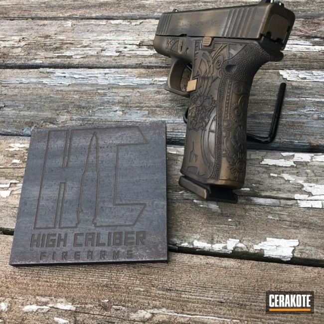 Cerakoted: Glock 43X,Laser Stippled,Stippled,Pistol,Midnight Bronze H-294,Laser Engrave,Gold H-122,Steampunk,SHOT,Battleworn,Burnt Bronze H-148,Glock,Gun Coatings
