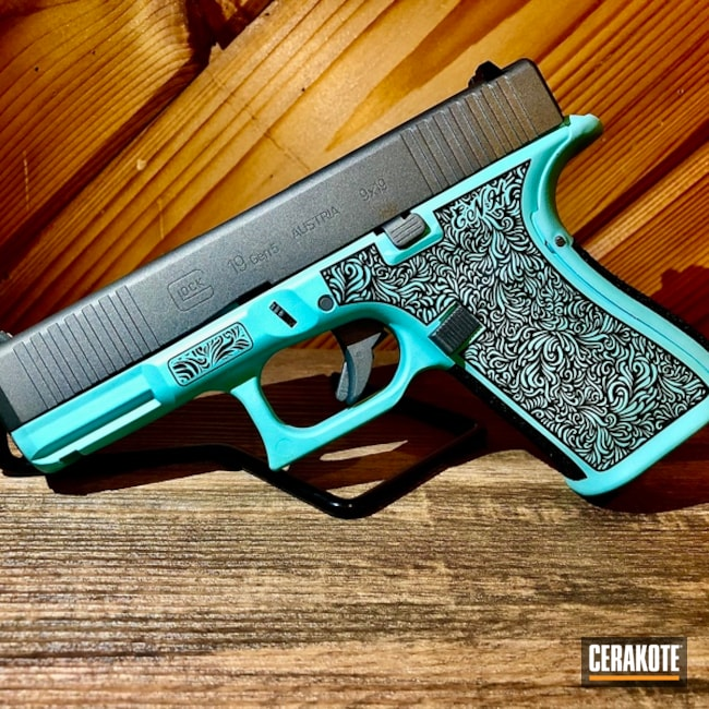 Two Toned LAser Engraved Glock 19 Handgun using Cerakote H-175 and H-227