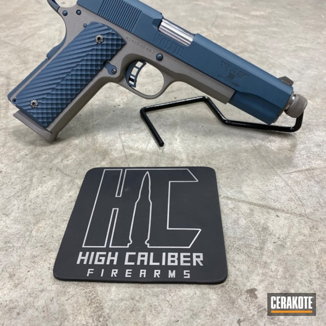 Two Toned 1911 Handgun Cerakoted with H-170 and H-185