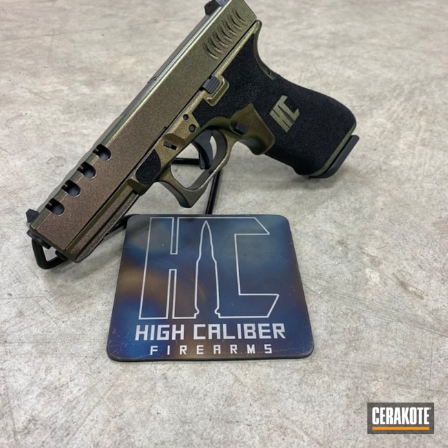 Custom Glock 22 Cerakoted with H-146 Graphite Black and GunCandy