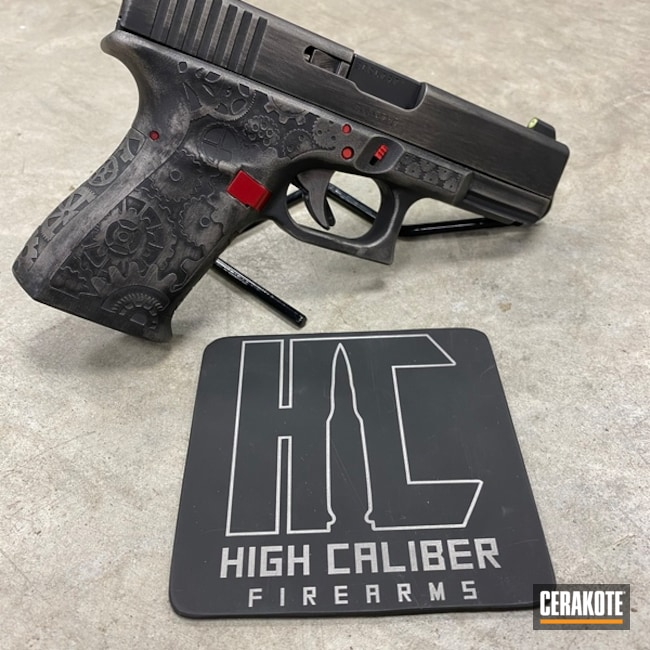 Laser Engraved Battleworn Glock 19 Handgun Cerakoted with H-190, H-221 and H-150