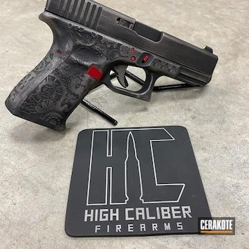 Cerakoted Laser Engraved Battleworn Glock 19 Handgun Cerakoted With H-190, H-221 And H-150