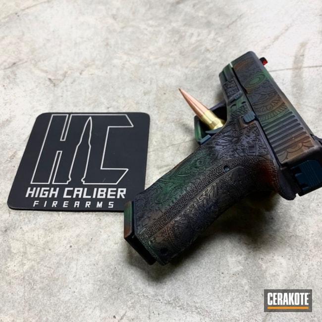 Cerakoted: TEQUILA SUNRISE H-309,Laser Stippled,S.H.O.T,NORTHERN LIGHTS H-315,Stippled,SQUATCH GREEN H-316,Laser Engrave,Mandala,Glock 19,Battleworn,Custom Life,Graphite Black H-146,Glock,Gun Coatings,CRUSHED ORCHID H-314,POLAR BLUE H-326