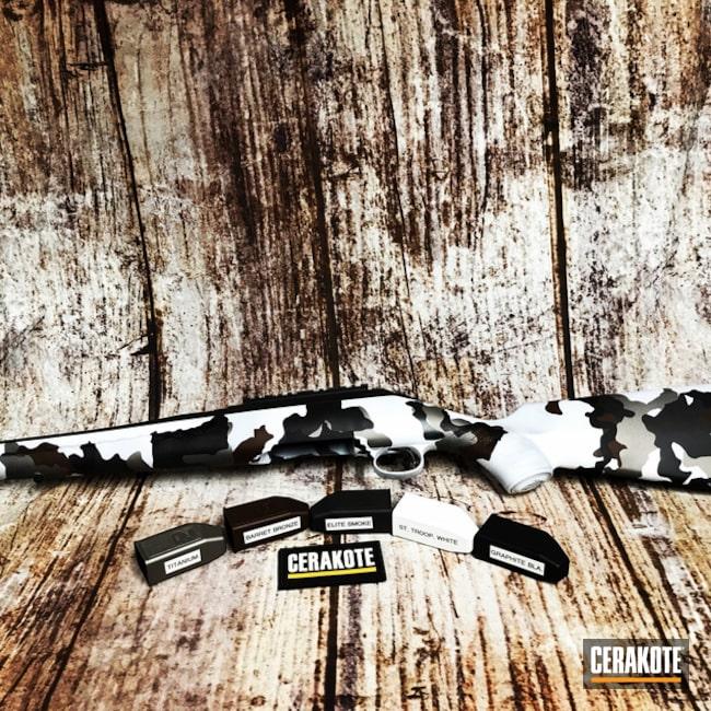 Cerakoted: S.H.O.T,Rifle,Ruger American Rifle,Ruger,Graphite Black H-146,BARRETT® BRONZE H-259,Stormtrooper White H-297,Titanium H-170,Smoke E-120,Gun Coatings