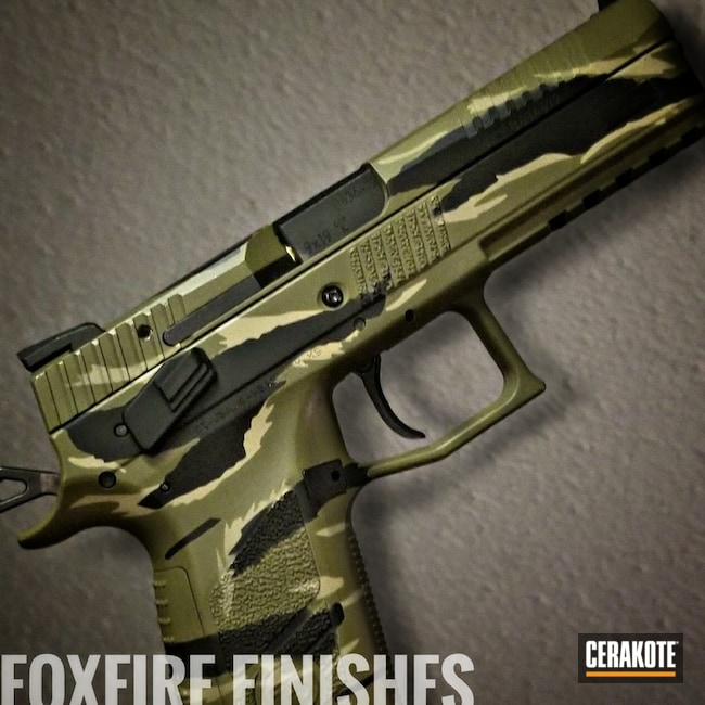 "Thumbnail image for project ""CZ P09 Handgun with a Cerakote Vietnam Tiger Stripe Camo Finish"""