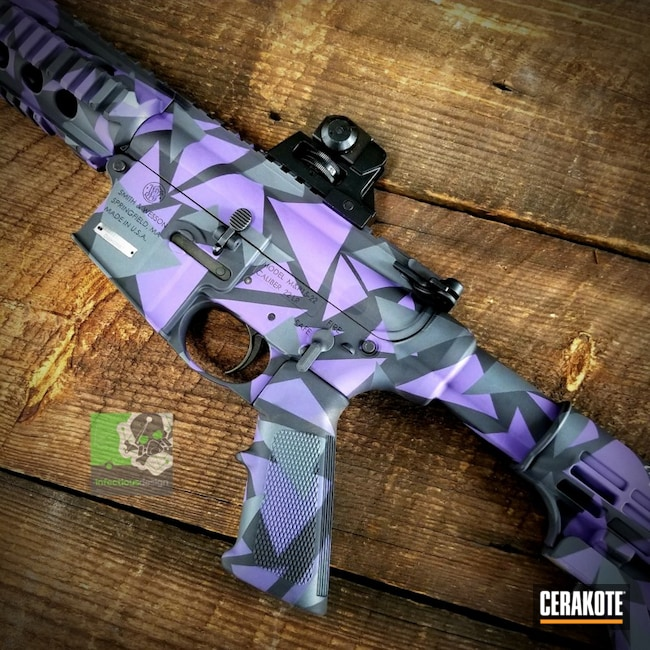 Smith & Wesson AR-15 with a H-217 and H-234 Cerakote Splinter Camo Finish