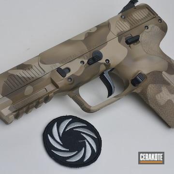 Cerakoted Fn Handgun With A Cerakote Desert Multicam Using H-265, H-199 And H-226