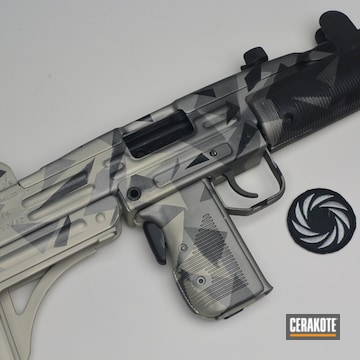 Cerakoted Uzi With A Cerakote H-190, H-158, H-170 And H-237 Splinter Camo Finish