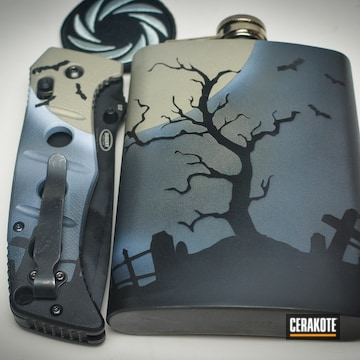 Cerakoted Matching Folding Knife And Flask With A Cerakote Graveyard Scene