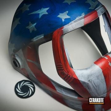 Cerakoted Custom Helmet / Mask With A Cerakote H-216, H-220, H-190 And H-158 American Flag Finish
