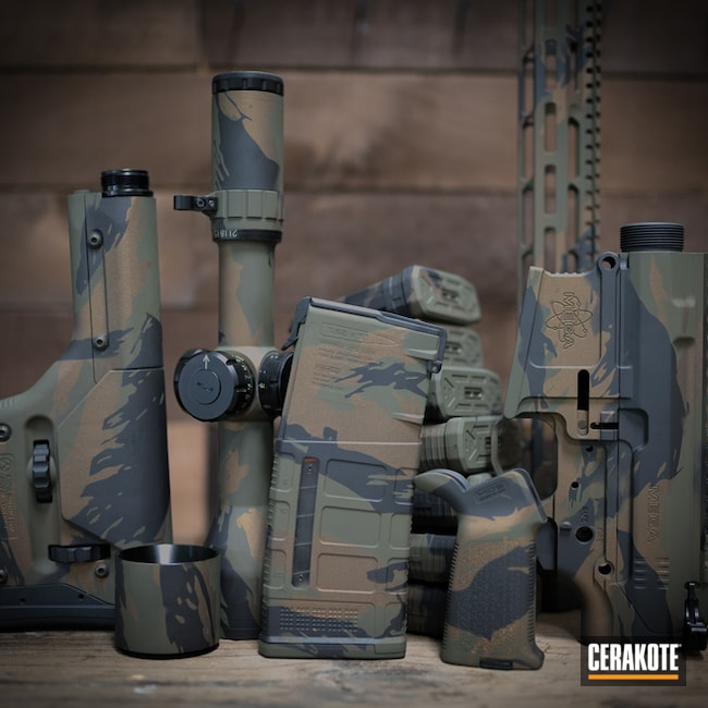 Custom Cerakote MultiCam Finish using H-1489, H-190 and H-240