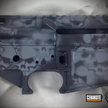 Cerakoted Upper / Lower With A Cerakote Skull Camo Finish Using H-213 And H-190