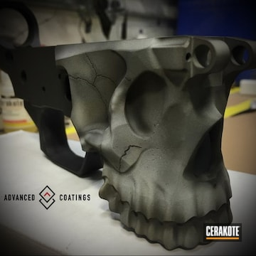 Cerakoted Spike's Tactical Skull Lower Receiver With A Cerakote H-190 And H-242 Finish