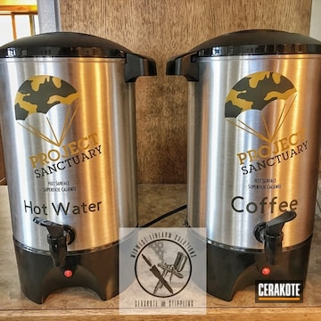 Cerakoted Coffee Containers With A H-240 And H-126 Cerakote Finish