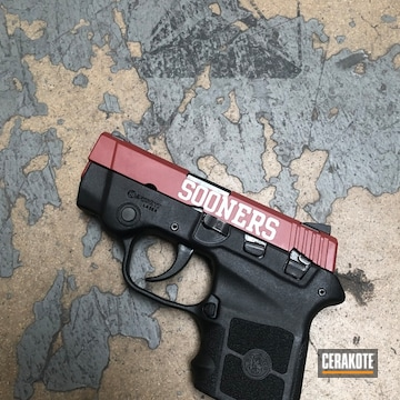 Cerakoted Smith & Wesson Sooners Themed Handgun Cerakoted Using H-221 And H-242