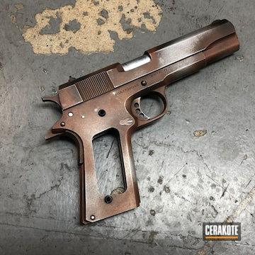 Cerakoted 1911 Rock Island Armory With A Cerakote Rust Effect Finish Using H-190, H-151, H-128 And H-294