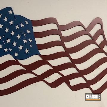 Cerakoted Metal American Flag Art Cerakoted With H-221 Crimson And H-169 Sky Blue