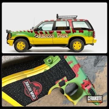 Cerakoted Jurassic Park Explorer Themed Glock Frame
