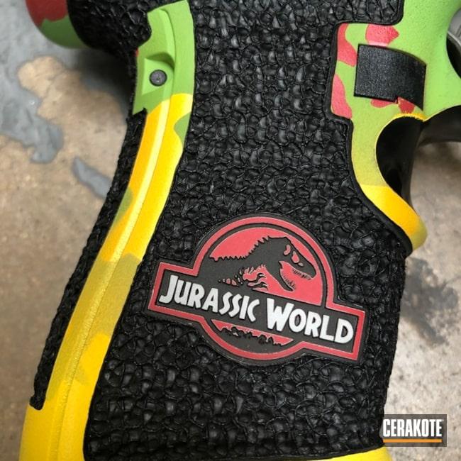 Cerakoted: S.H.O.T,Corvette Yellow H-144,Jurassic Park Theme,Polymer Frame,Frame,Jurassic Park Explorer,Zombie Green H-168,Stippled,Pistol,Hand Stippled,SQUATCH GREEN H-316,Laser Engrave,Defkon3,Pistol Frame,Custom Glock Frame,Custom,HABANERO RED H-318,Glock,Jurassic Park,Gun Coatings,Theme,Glock Frame,Handguns,SUNFLOWER H-317