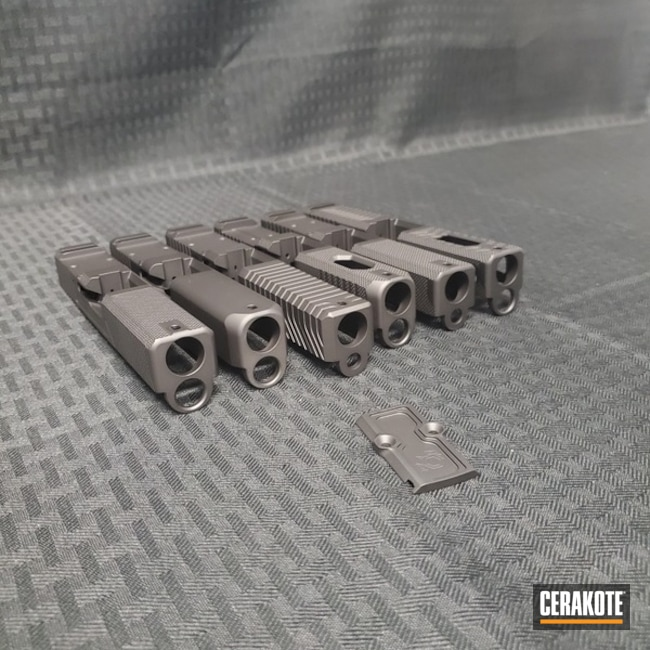 Pistol Slides Cerakoted with H-146, H-190 and H-237
