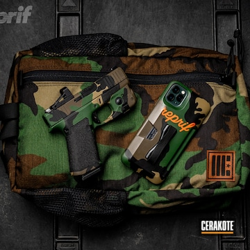Cerakoted Cerakote M81 Woodland Camo Finish On This Glock 43x Handgun