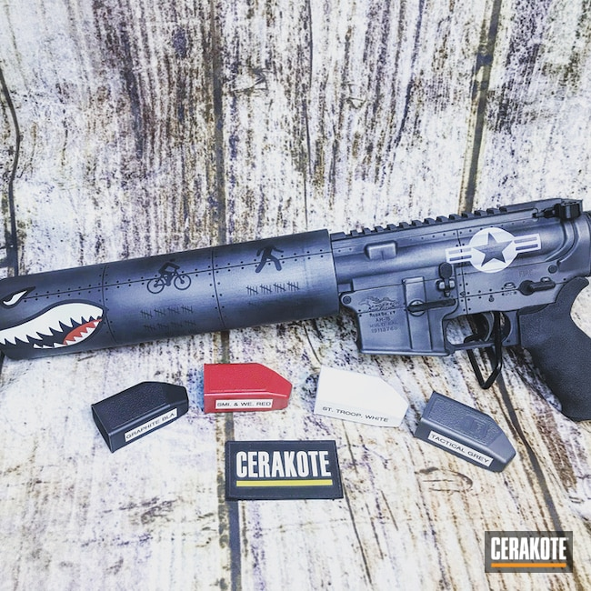Cerakoted: S.H.O.T,Beer Can Launcher,FIREHOUSE RED H-216,Anderson Mfg.,Graphite Black H-146,Stormtrooper White H-297,Cancan,Gun Coatings,Tactical Grey H-227,Fighter Plane Graphics
