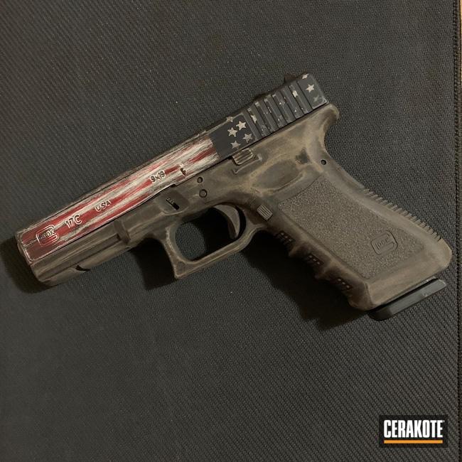 Cerakoted: S.H.O.T,FIREHOUSE RED H-216,Stormtrooper White H-297,Distressed American Flag,Pistol,American Flag,KEL-TEC® NAVY BLUE H-127,Glock,Glock 17,Gun Coatings