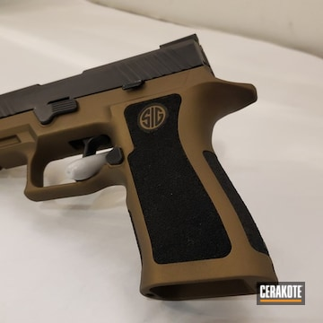 Cerakoted Two Toned Sig Sauer P320 Handgun Cerakoted With H-148