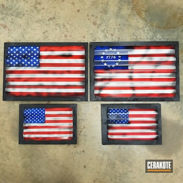 Cerakoted Metal American Flag Wall Art Cerakoted With H-167, H-171, H-169 And H-30372