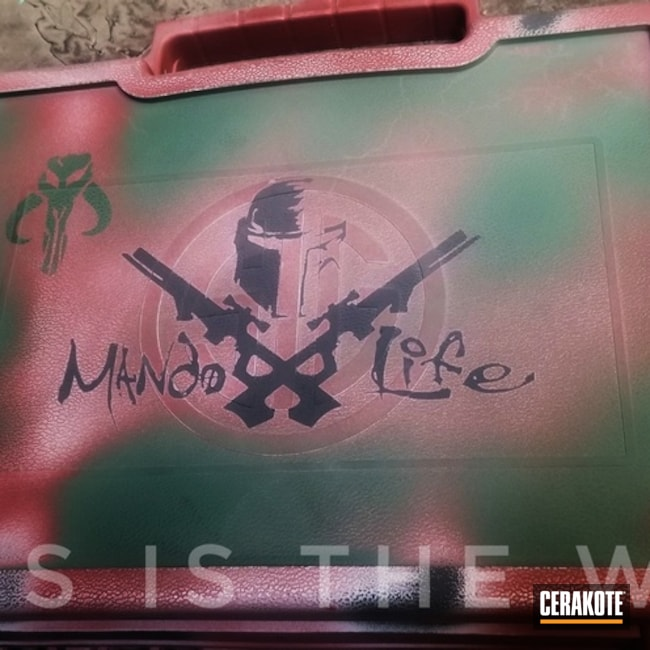 Mandalorian Themed Gun Case Cerakoted with H-146, H-221 and H-151