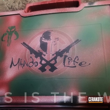 Cerakoted Mandalorian Themed Gun Case Cerakoted With H-146, H-221 And H-151