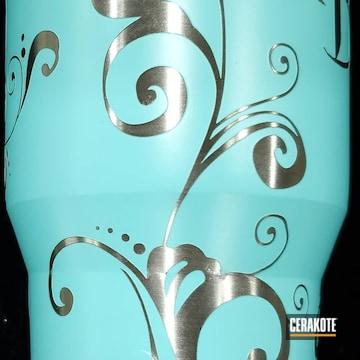 Cerakoted Custom Tumbler Cups Cerakoted With H-175 Robin's Egg Blue