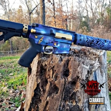 Cerakoted Tactical Rifle With A Galaxy Themed Cerakote Finish