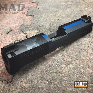Cerakoted Sig Sauer Slide With A Cerakote Texas Thin Blue Line Themed Finish