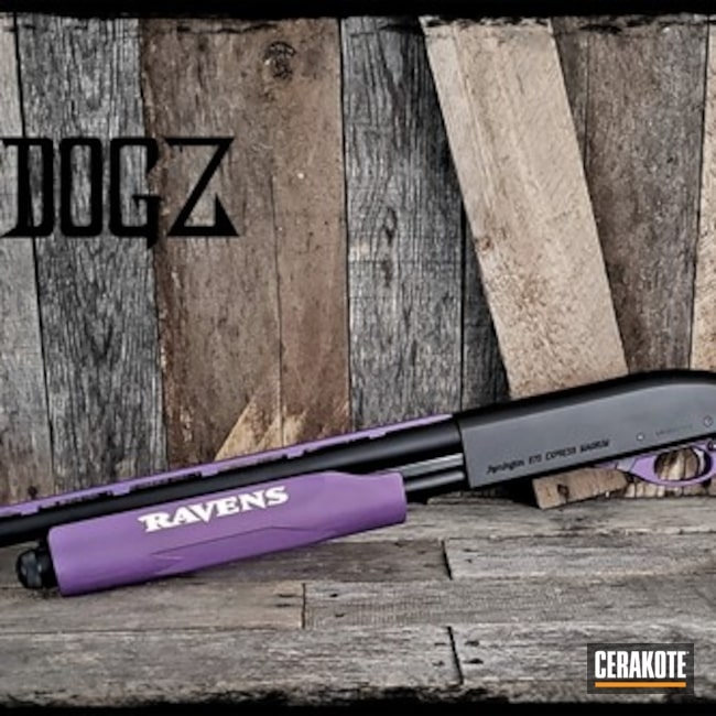 Baltimore Ravens Themed Shotgun Cerakoted with H-146, H-167, H-217, H-122 and H-297