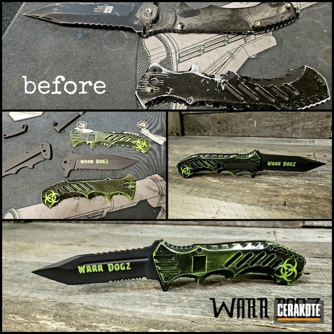 "Thumbnail image for project ""Zombie Biohazard Themed Knife Finish Cerakoted with H-190, H-168 and H-300"""